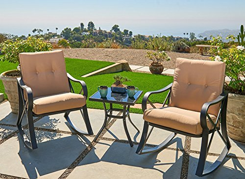 Outroad 3-Piece Rocking Metal Bistro Set Black Outdoor Patio Set Glass Top Table & Thick Cushions for Porch, Garden, Backyard or Pool -