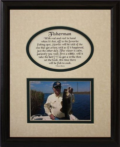 8 x 10 Fisherman Bild & Poetry Foto Geschenk Rahmen  creme Hunter Grün Matte mit Schwarz Rahmen  Geschenk für A Fisherman von klassischen Crafts INC