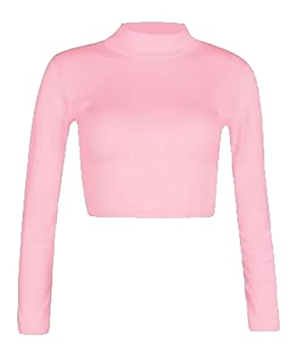 6a15bbf5a01110 Rimi Hanger Womens Ladies Turtle Neck Crop Top Top Baby Pink Small Medium