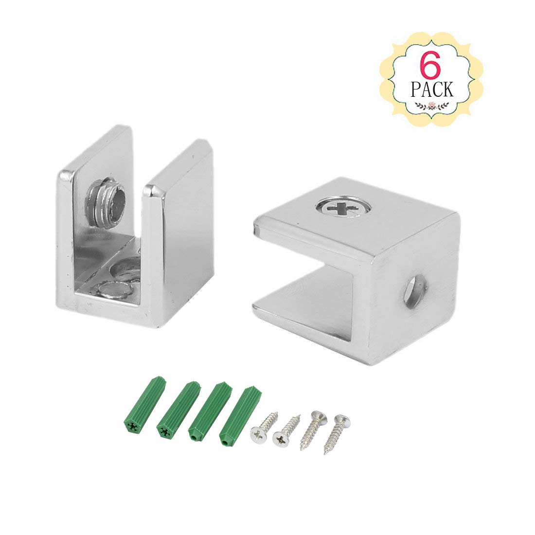 6 Pack Wall Mounted Adjustable Stainless Steel Glass Shelf Clip Clamp Bracket Support (6PCS)