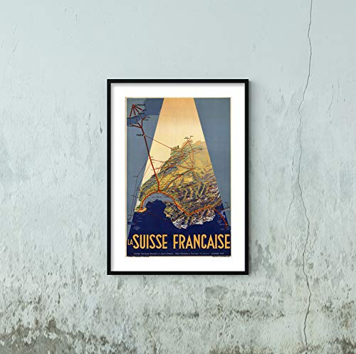 1939 La Suisse Francaise. (French Speaking Switzerland). Bird's Eye Map or Travel Poster Shows Railroads of French Speaking ()