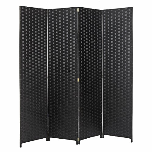 MyGift 4 Panel Hinged Room Divider, Woven Paper Rattan Privacy Screens, (Black Room Divider)