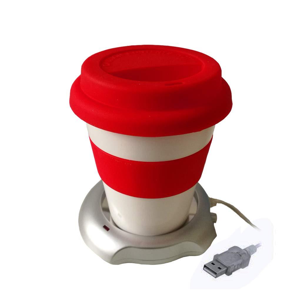 Home Fan Line - Kaffee/Teetasse mit Deckel und Silikongriff + USB-Tassenwärmer zur Aufrechterhaltung der Temperatur