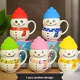 Satyam Kraft Ceramic Snow Man Mug With Silicon Lid Cover(1 Piece) For Kids Mug 300 ml
