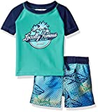 Tommy Bahama Baby Boys Rashguard and Trunks Swimsuit Set, Teal Sharks, 24M