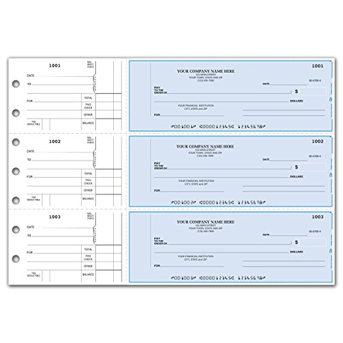 CheckSimple 3-Per-Page Multi-Purpose Manual Business Checks w/Side Stubs (150 Checks) - Custom