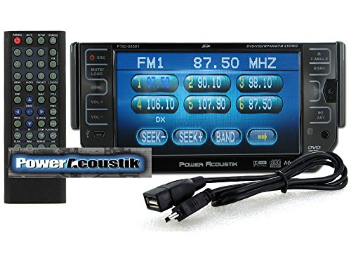 Power Acoustik PTID-5850T In-Dash Single DIN Motorized 5.8 inch TFT LCD Monitor with RAZOR Style Controls, DVD, CD, MP3 Player, USB, SD, iPod Ready, BUILT-IN TV TUNER and Remote