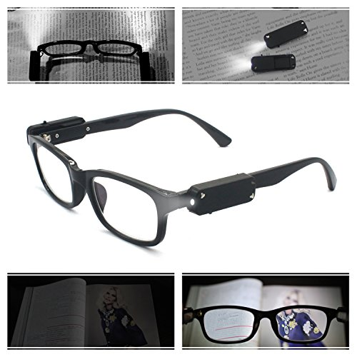 EYEZOOM LED Light Reading Glasses with Leather Pouch Includes 2 in 1 Capacitive Stylus & Ballpoint Pen, Classic Collection, Black Frame+1.00 Strength