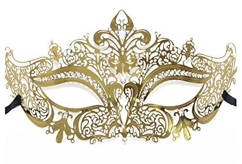 Women's Laser Cut Metal Masquerade Mask Carnival Party Masks (Gold)