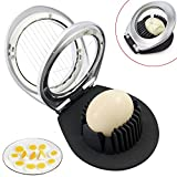 Heavy Duty Egg Slicer Egg Cutter Boiled Stainless Steel Wire with 3 Slicing styles Silver