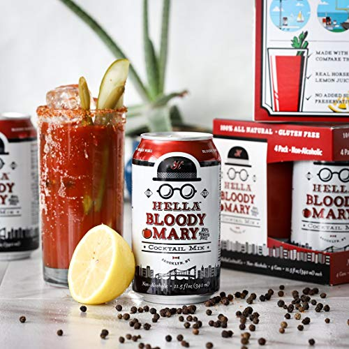 Hella Cocktail Co. | Bloody Mary Cocktail Mixer, 340ml x 4 pack | All Natural Bloody Mary Mixer made with Real Horseradish and 100% Tomato Juice | Perfect for Holiday Cocktail Drinks ()