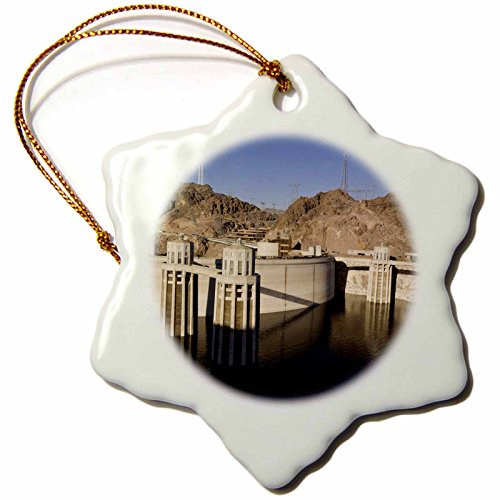 Water Lake Level Mead (3dRose orn_92240_1 Low Water levels at The Hoover Dam, Lake Mead, NV US29 MPR0048 Maresa Pryor Snowflake Porcelain Ornament, 3-Inch)