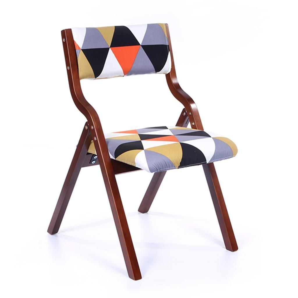 HETAO創造的な木製の背もたれの椅子折りたたみ椅子レジャーチェアのデスクと椅子、ホームバーレストラン、46 * 41 * 42.5cm , brown frame red triangle B0781711FY brown frame red triangle brown frame red triangle