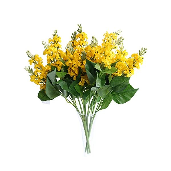 Jasming 3PCS 7 Heads Artificial Silk Hyacinth Flowers Blossom Bunch Blue Violet Wedding Home Decoration Flower Party Decor Floral Supplies (Yellow)