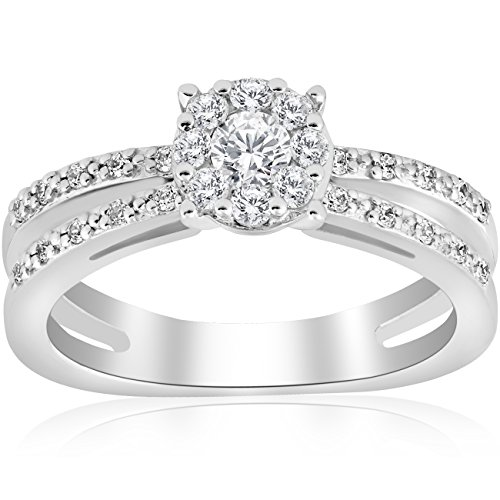 (1/2ct Diamond Halo Split Shank Round Cut Engagement Ring 14k White Gold - Size 7)