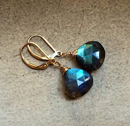 Natural Rainbow Labradorite Gold Leverbacks Earrings Wire Wrapped