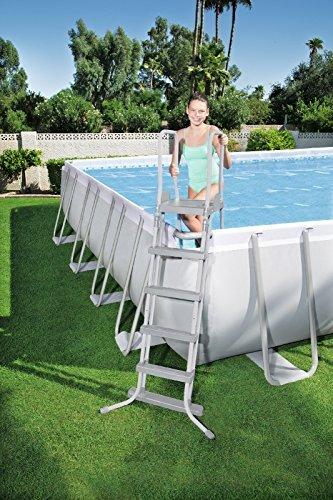 Echelle pour piscine hors sol avec plateforme 4 marches de chaque c/ôt/é Bestway hauteur 132 cm - Coloris al/éatoire