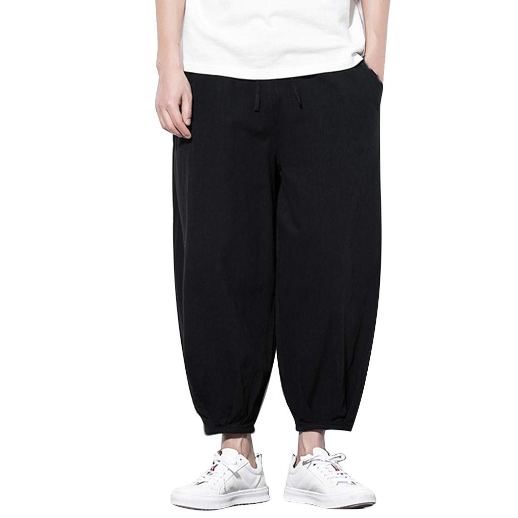Sunyastor Men's Summer Harren's Baggy Wide-Legged Pants Ankle-Length Pants Pocket Drawstring Cotton Linen Loose Trousers Black by Sunyastor men pants (Image #1)