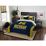 3 Piece NCAA University of Michigan Wolverines Comforter Full Queen Set, Sports Patterned Bedding, Featuring Team Logo, Fan Merchandise, Team Spirit, College Basket Ball Themed, Blue, Yellow, Unisex
