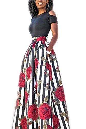 La Mujer Es Elegante Espalda Estampado Floral Patchwork Maxi Vestido Hippy Black