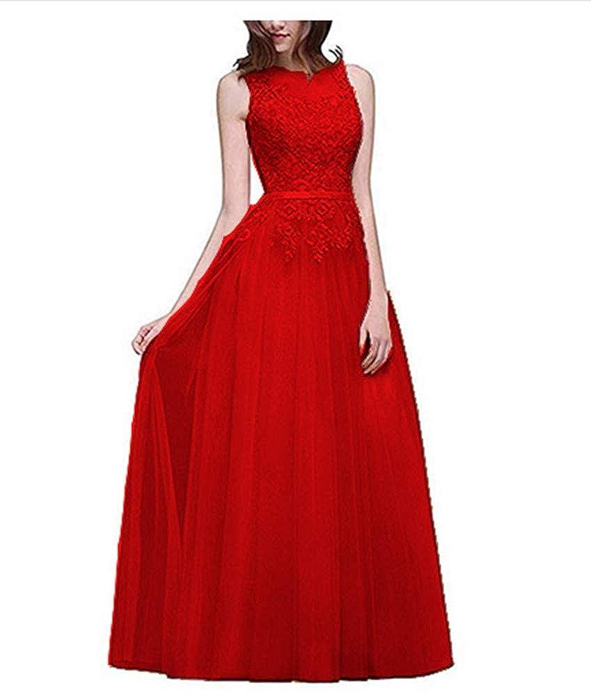 Red Aiyue Yishen Women's Aline Lace Applique Evening Dress Sheer Long Winter Gala Dress