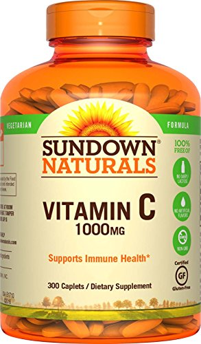 Sundown Naturals Vitamin C 1000 mg Ascorbic Acid, 300 Caplets (Pack of 2)