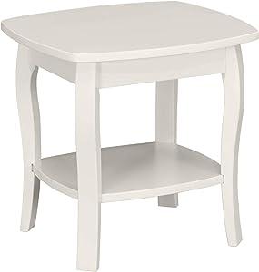 "Ravenna Home Anne Marie Small Curved Leg Shelf Storage Side End Table, 20""W, White"