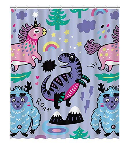 GCKG Cartoon Cute Pink Unicorn Blue Yeti Violet Dinosaur Fantasy Animals Waterproof Bathroom Shower Curtain 60x72 ()