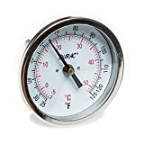 "H-B Instrument 21605 Durac Bi-Metallic Dial Thermometer, 1/2"" NPT Threaded Connection, 25 to 125 ° F/0 to 50° C, 3""/75mm Dial Diameter, 2.4""/62mm Probe Length, 2° Graduations"