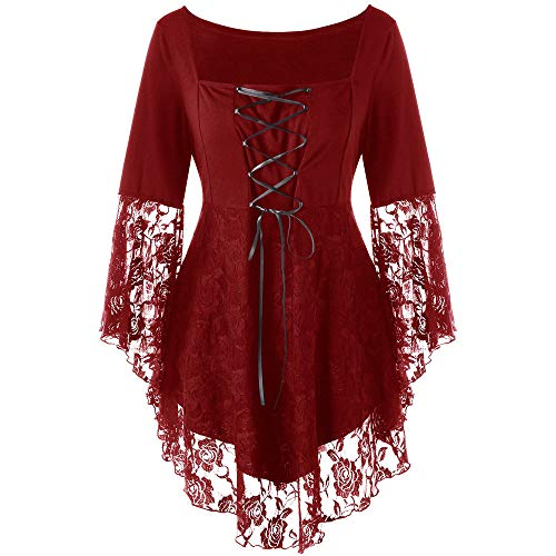 Aniywn Women Plus Size Patchwork Ribbons Elegant Square Collar Floral Lace Up Blouse T-Shirt Tops Wine