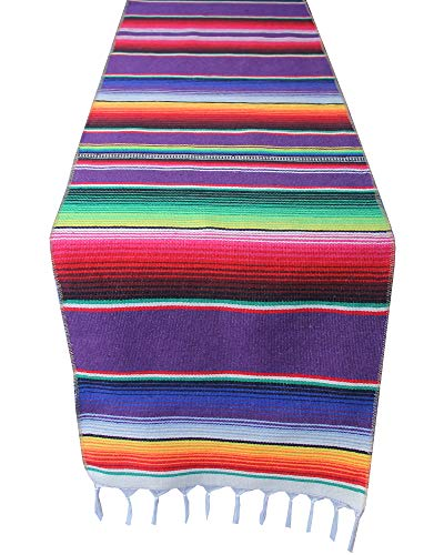 14x108 inch Mexican Serape Table Runner with Tassels for Mexican Home Party Decorations Christmas Thanksgiving Outdoor Wedding Ceremony, Colorful Striped Handwoven Fringe Cotton Blanket, Purple
