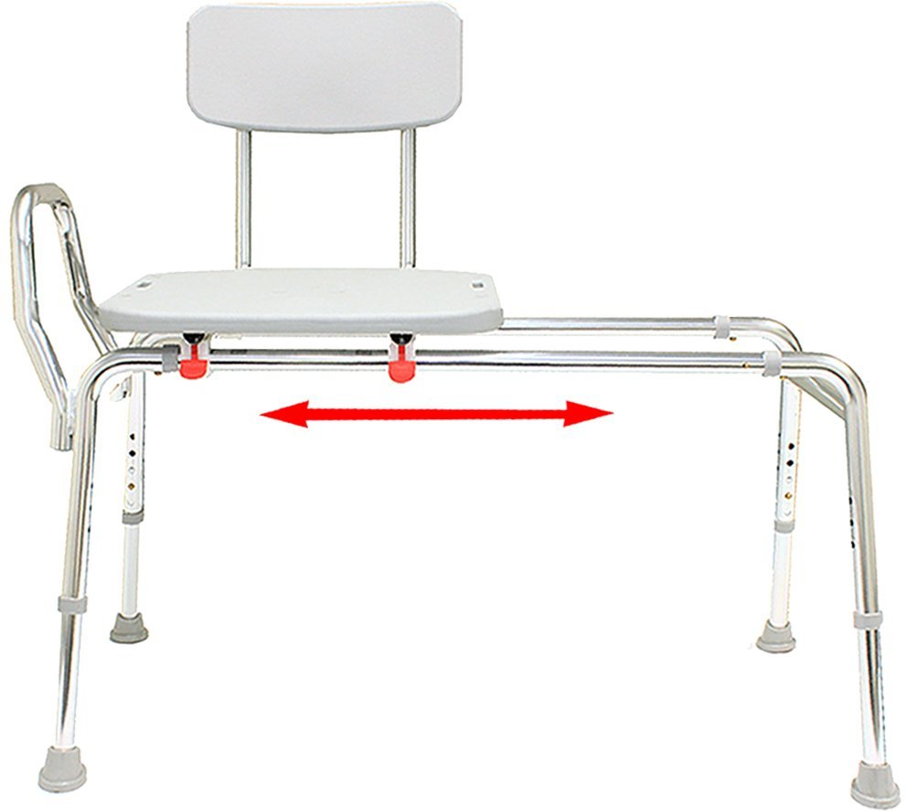 Sliding Bath Transfer Bench (77291) - Extra Long (Base Length: 48'' - 49'') - Heavy-Duty Shower Bathtub Chair - Eagle Health Supplies