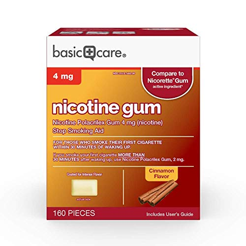 Basic Care Nicotine Polacrilex Gum, 4 Mg (Nicotine), Cinnamon Flavor, 160 - Cinnamon Gum Surge