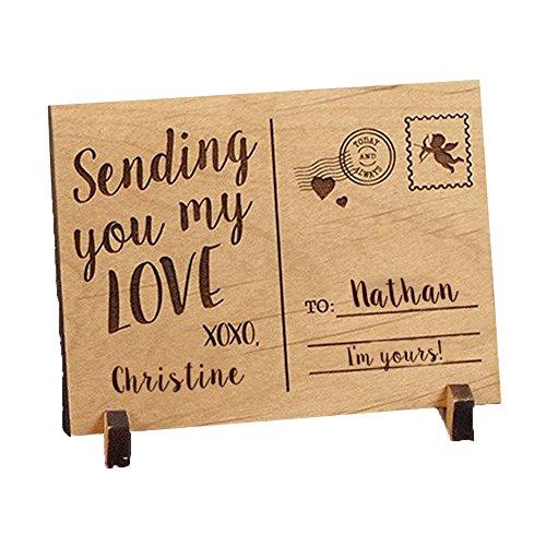 Engraved Sending Love Wood Postcard, 5 1/4