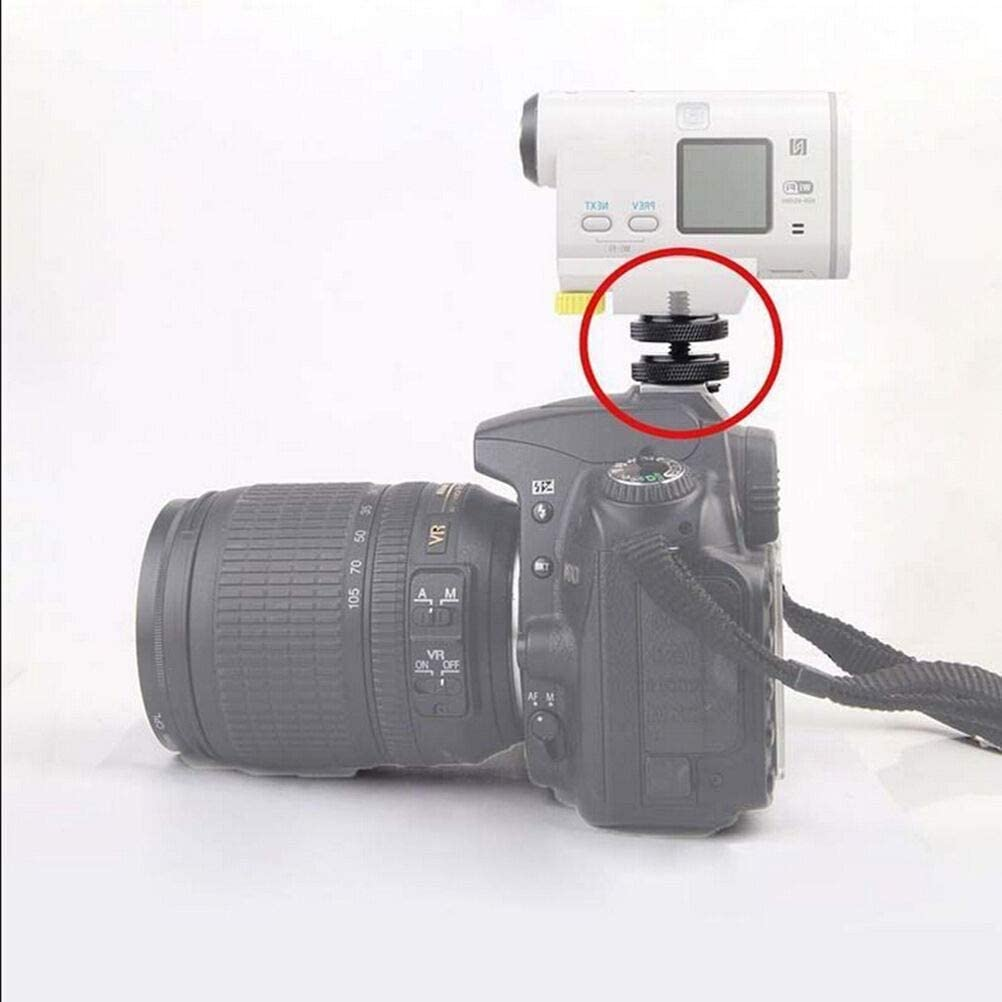 Redcolourful 1//4 inch Dual Nuts Tripod Mount Screw to Flash Camera Hot Shoe Adapter