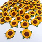 100 Pcs Sunflower Mulberry Paper with Brown Center 2 Layers Flower Craft Project 20 mm.