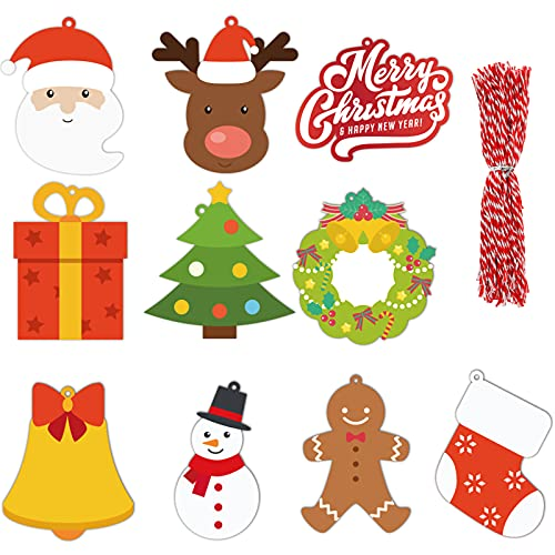 Starrky Christmas Tags Set, 150Pcs Merry Christmas Paper Tags 10 Kinds Xmas Present Tags DIY Name Cards for Christmas Decoration Xmas Gift Wrap Package Name Cards
