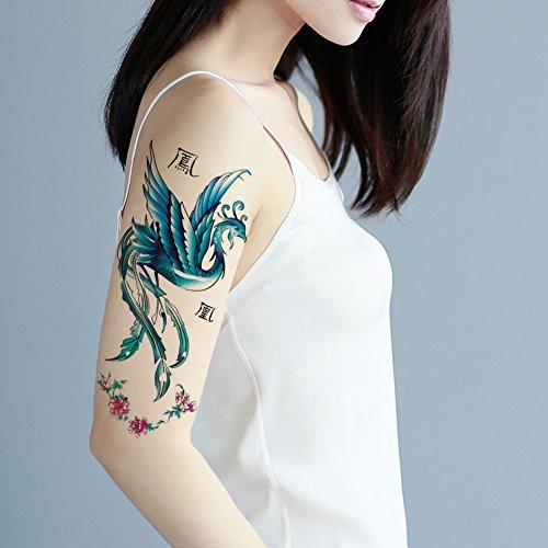 TAFLY Blue Phoenix Temporary Tattoo Body Art Arm Tattoo Stickers Waterproof Fake Bird of Wonder Look Real for Women 5 Sheets (Tattoo Phoenix)