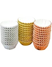 Wobekuy 600 Pieces 1.97 Inch Foil Metallic Cupcake Liners Muffin Paper Cases Baking Cups - Gold, Silver and Rose Gold