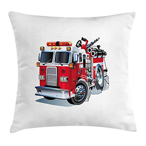 YABABY Truck Throw Pillow Cushion Cover, Fire Brigade Vehicle Emergency Aid for Public Firefighter Transportation Themed Lorry, Decorative Square Accent Pillow Case, 18 X 18 Inches, Grey Red