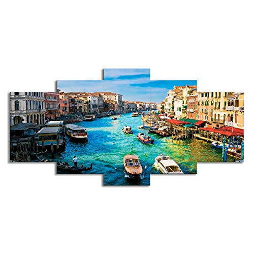 (5 Panels Wall Art Decor Poster Painting On Canvas Print Pictures Scenic Views of Venice Canal Boat Italy Town Landscape Framed Picture for Home Decoration Living Room Artwork (Framed,Small))