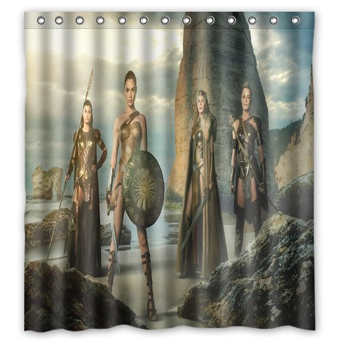Wonder Woman Shower Curtain Bathroom Waterproof Fabric set with 12 Hooks Decor 66x72 Inches