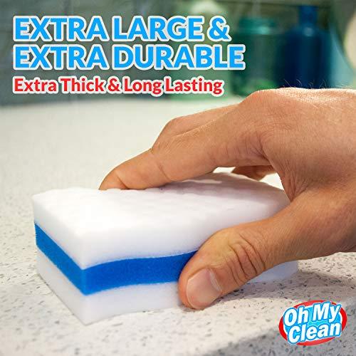 (25 Pack) Extra Durable Magic Cleaning Eraser Sponge - 2X Thick, 3X  Stronger Melamine Sponges in Bulk - Multi Surface Power Scrubber Foam Pads  -