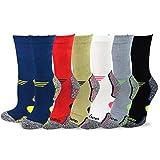 TeeHee Viscose from Bamboo Diabetic Sports Cushion Crew Socks 6-Pack (10-13, Basic)