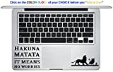 Lion King/Hakuna Matata Swahili Mac Pro Retina Decal is a Walt Disney Quote Decal. Laptop Sizes 11, 12, 13 and 15 inch. Looks great with your Lion King Movie Theme. Many Colors-BLACK