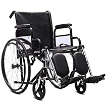 Giantex Folding Wheelchair Lightweight Wide Seat 18 with Handbrakes, Stainless Steel Frame Padded Seat and Detachable Elevating Leg Rest Fast Flip with Belt, Portable Transport Wheelchairs for Adults