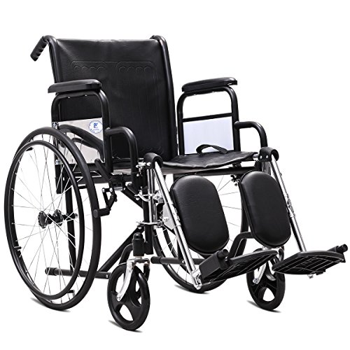 "Giantex Folding Wheelchair Lightweight Wide Seat 18"" with Handbrakes, Stainless Steel Frame Padded Seat and Detachable Elevating Leg Rest Fast Flip with Belt, Portable Transport Wheelchairs for Adults"