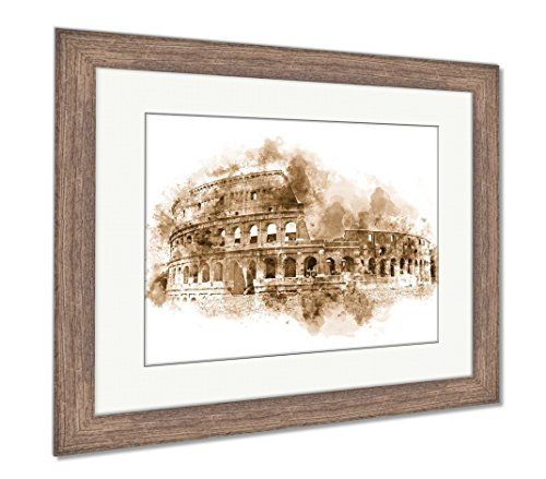 Ashley Framed Prints Watercolor Painting Of The Colosseum Rome Italy With A Green Grass Foreground, Wall Art Home Decoration, Sepia, 30x35 (frame size), Rustic Barn Wood Frame, (Free Rome Postcard)