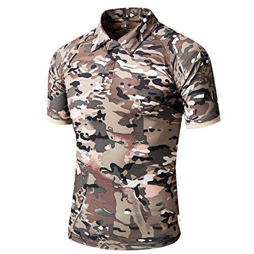 Willie Marlow Military Camouflage Tactical Polo Shirt Men Breathable Quick Dry Combat Army (Camo Polo Shirts)