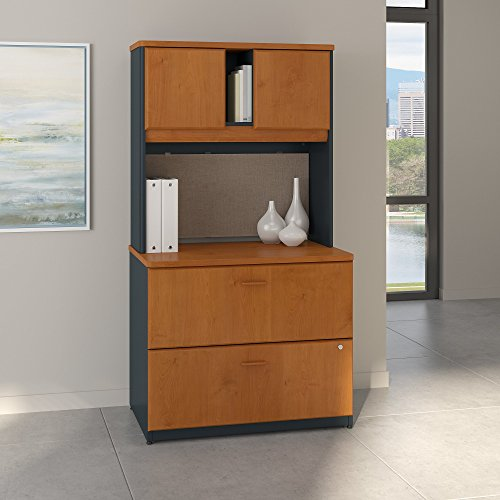- Bush Business Furniture Series A 36W Lateral File Cabinet with Hutch in Natural Cherry and Slate